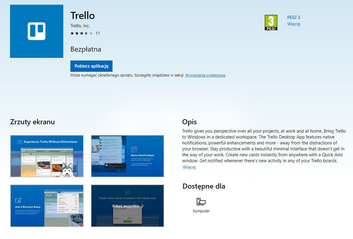 trello windows praca offline