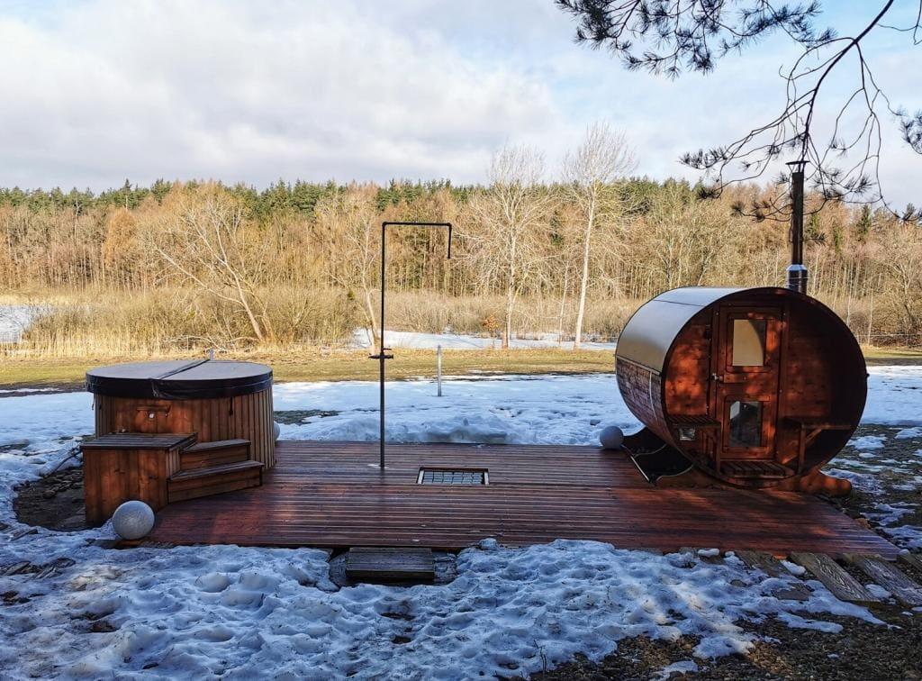 4rest camp balia i sauna zimą glamping